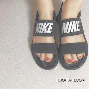 Women Shoes Nike Tanjun Sandal Black White Letters Ninja