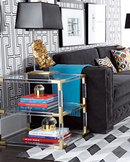 A wide variety of jonathan adler table options are available to you, such as modern. Jonathan Adler Jacques Acrylic & Brass Two-Tier Table | Jonathan adler living room, Luxury ...