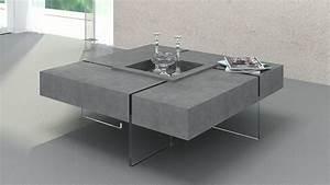 Table Basse Carrée Verre : table basse carr e avec pieds en verre design crystalline beton mobilier moss ~ Teatrodelosmanantiales.com Idées de Décoration