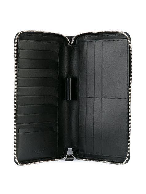 montblanc leather mst travel wallet  black  men lyst