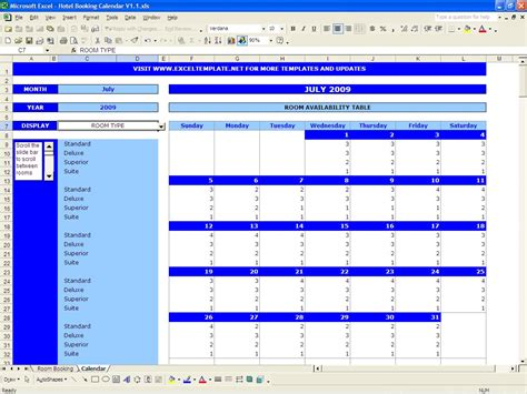 Availability Template Excel by Booking Calendar Excel Templates