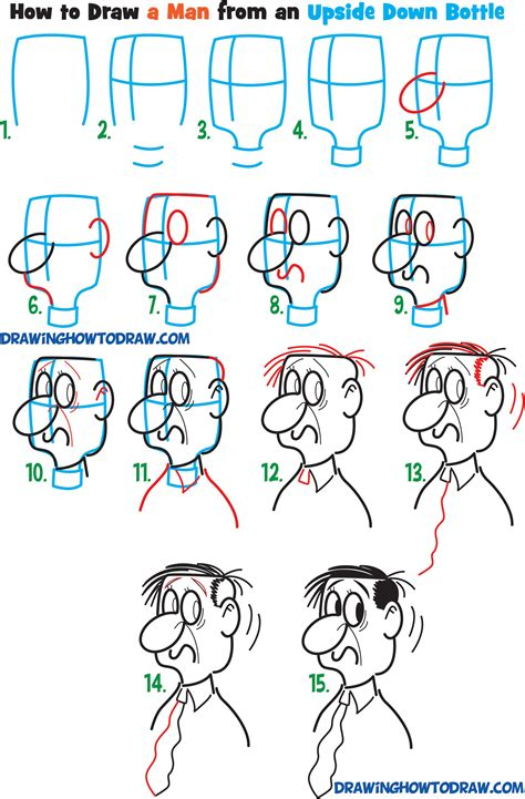 learn   draw cartoon men characters faces