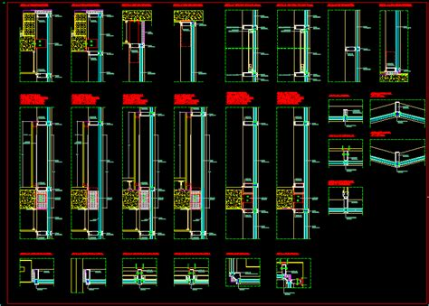 curtain wall details in autocad drawing bibliocad