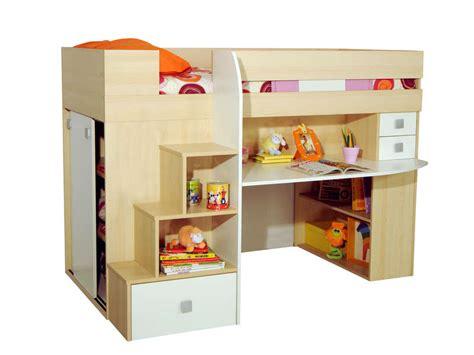 combine lit bureau lit 90x190 cm surélevé combiné