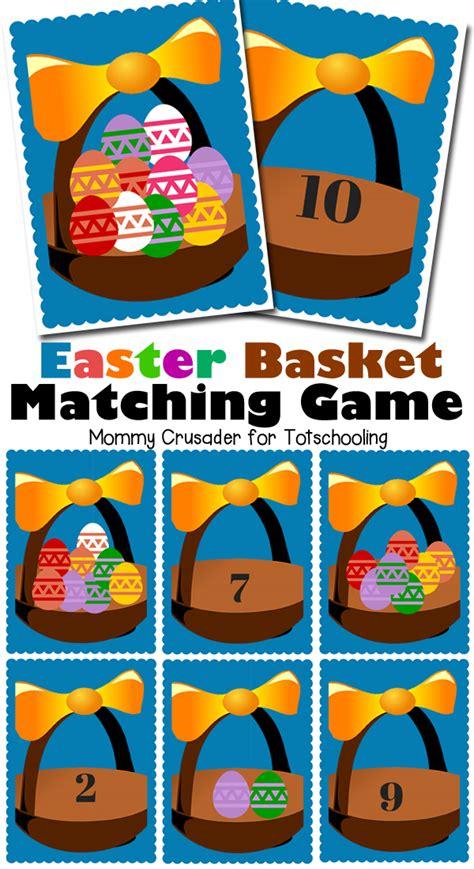 Free Easter Basket Matching Game  Totschooling  Toddler, Preschool, Kindergarten Educational