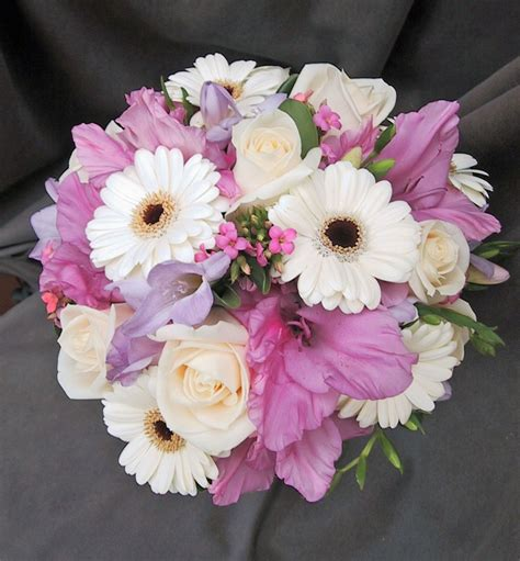 posy wedding bouquet with white gerbera daisies lavender