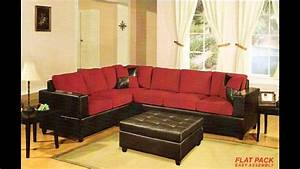 2 pc red microfiber two tone reversible sectional sofa for Uptown red 2 pc sectional sofa