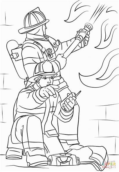 Coloring Fire Fighter Printable Firefighter Fireman Drawing