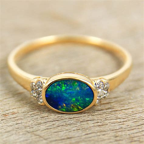 Opel Ring by Black Opal Engagement Wedding Ring 14k Gold