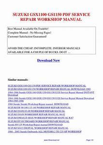 Suzuki Gsx1100 Gs1150 Service Repair Workshop Manual By