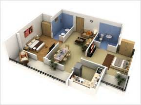 open kitchen living room floor plans 10 awesome two bedroom apartment 3d floor plans