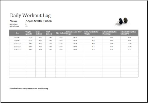 excel work log template 27 images of workout template editable infovia net
