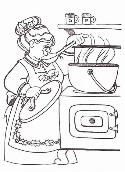 Cooking Dinner Claus Coloring Santa Mrs Clip