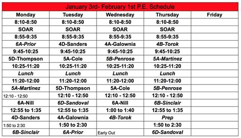 pe schedule home david reese eagles
