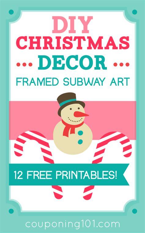 diy christmas decor framed subway art  printables
