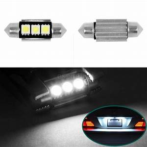 2pcs No Error License Plate Light 6411 6418 C5w 3 Smd Led