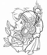 Coloring Pages Gypsy Tattoo Printable Getcolorings sketch template