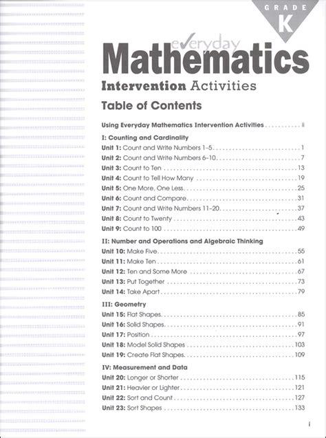 everyday mathematics intervention activities kindergarten