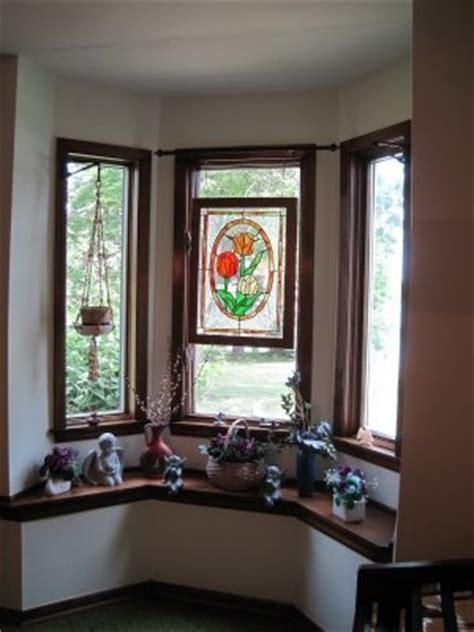 bay window idea love  stained glass hung  curtain