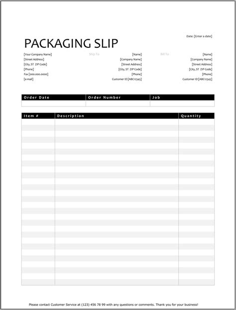 packing list template   excel word