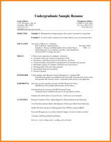 Sle Curriculum Vitae For Undergraduate Students by 6 Undergraduate Cv Template Resumed