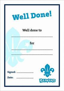 well done beaver scouts and cubs pinterest student With well done certificate template