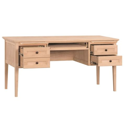 wood 1 drawer 60 inch writing desk 60 inch mckenzie 4 drawer desks bare wood fine wood