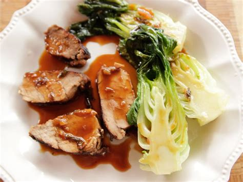 grilled pork tenderloin  baby bok choy recipe ree
