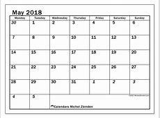 Calendars May 2018 MS Michel Zbinden en