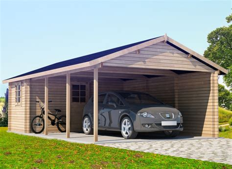 Carport : Extra Large Wooden Carport Emma With Tool Shed 30m² / 44mm