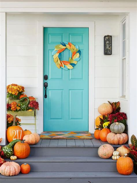 fall door decoration ideas fall decorating ideas for around the house pumpkins blue doors and house