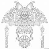 Coloring Bat Halloween Pages Skull Adult Printable Souris Chauve Coloriage Skeleton Adults Mandala Imprimer Sitting Patterns Candles Maleficent Elements Each sketch template