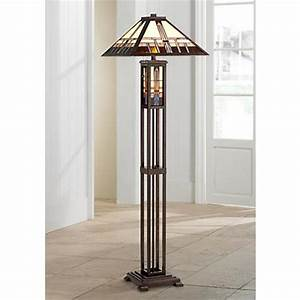 geometric art glass mission floor lamp with night light With tiffany floor lamp with night light