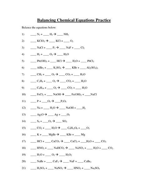 images  balancing chemical equations worksheet