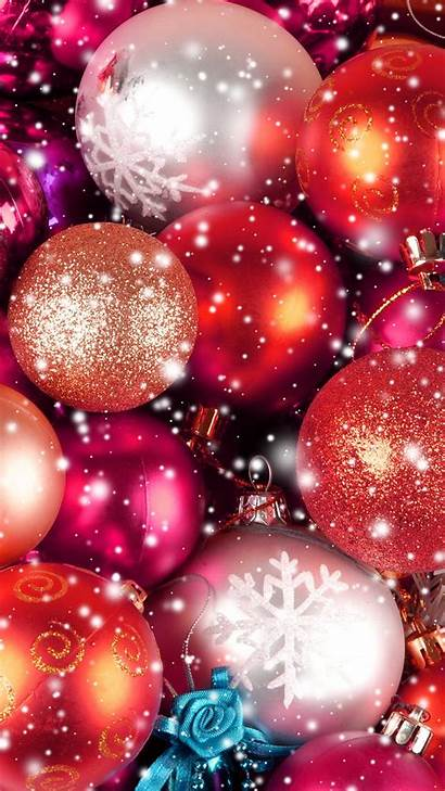 Christmas Iphone Holiday Wallpapers Glitter Background Ornaments