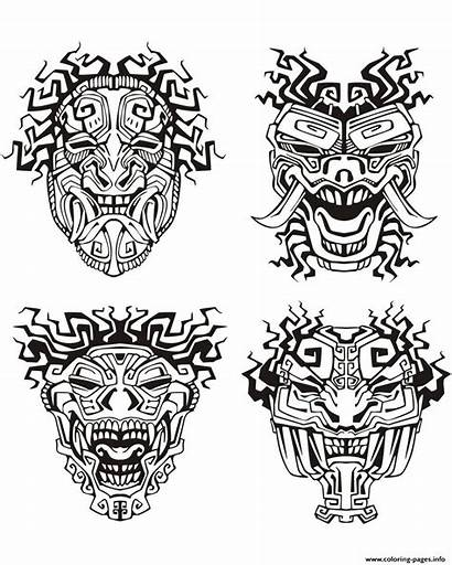 Aztec Coloring Mayan Mask Pages Masks Adult