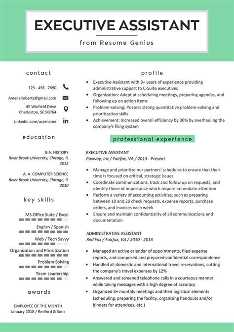 executive assistant resume mt home arts