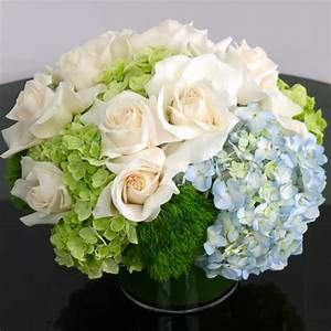 White Roses and Blue Hydrangeas in Seattle, WA | Acorn Floral