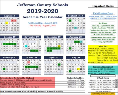 jefferson county schools calendar includes full week