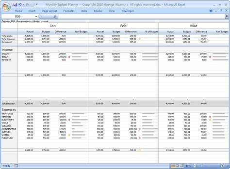 monthly budget planner excel budget spreadsheet