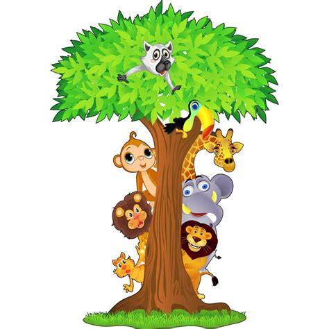 chambre de la reine des neiges stickers arbre animaux jungle 15208 stickers muraux enfant