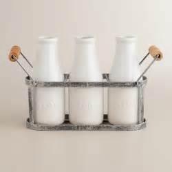 World Market Vases - bloom thrive and grow milk bottle vases with holder