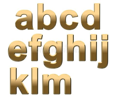 gold alphabet 3d letters stock photography image 29339742 gold alphabet letters lowercase a m on white stock 75864