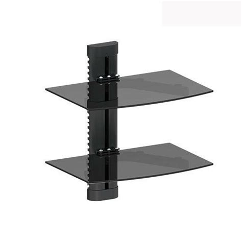 Tv Shelf For Cable Box by 2 Tier Dual Galss Shelf Wall Mount Tv Cable Box