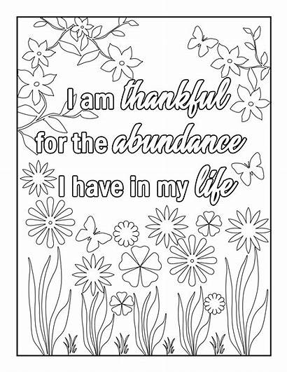 Coloring Gratitude Affirmations Adults Affirmation Pages Adult