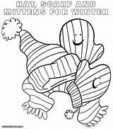 Scarf Coloring Mittens Sheet sketch template