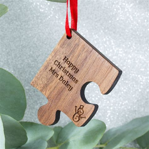 personalised wooden gift teacher christmas decoration