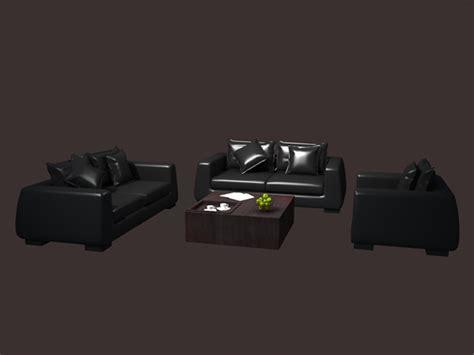 modern leather sofa set model dsmax files