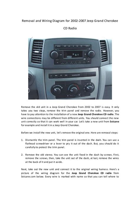 Removal Wiring Diagram For Jeep Grand