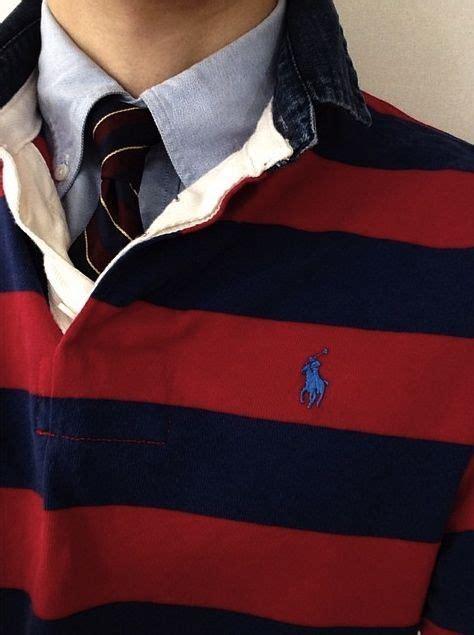 polo ralph lauren rugby shirt  oxford  tie prep